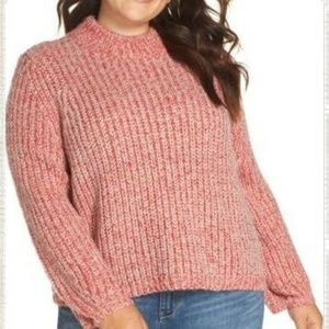 NWT Nordstrom Red Marled Knit Crewneck Sweater